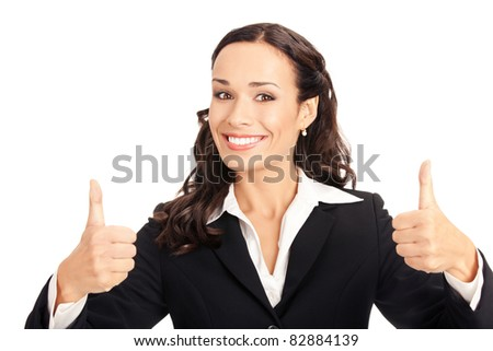 Happy smiling business woman showing thumbs up gesture, isolated on white background