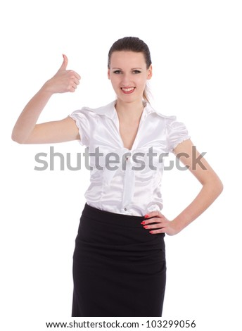 Happy smiling business woman showing thumbs up gesture, isolated over white background