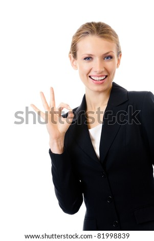 Happy smiling business woman with okay gesture, isolated on white background