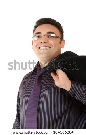 Happy smiling businessman in formal wear isolated on white background