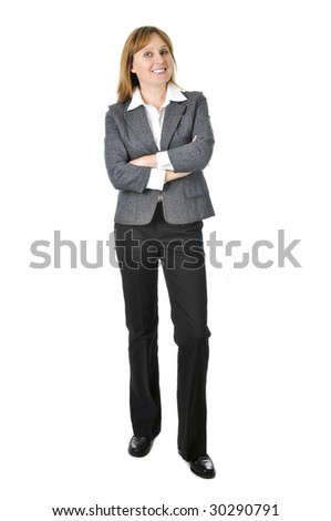 Happy smiling businesswoman isolated on white background - stock photo