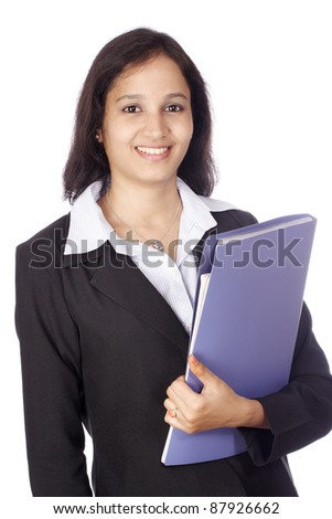 Happy smiling businesswoman with folder