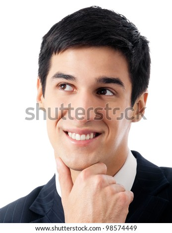 Happy smiling cheerful thinking or planning young businessman, isolated over white background