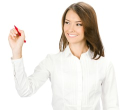 Happy smiling cheerful young business woman writing or drawing something on screen with red marker, isolated on white background