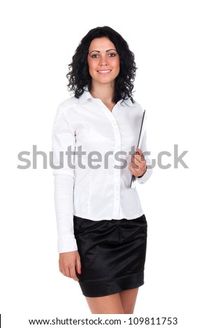 Happy smiling cheerful young businesswoman with clipboard, isolated on white background