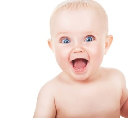 happy smiling child with blue eyes on white background