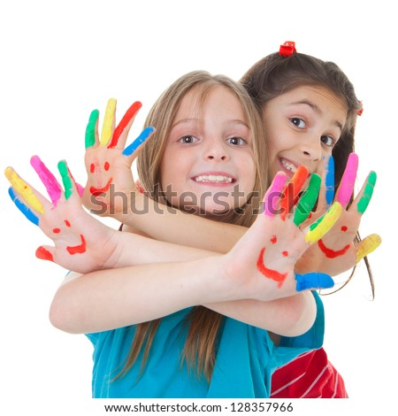 Shutterstock happy smiling children playing with paint