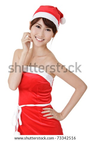 Happy smiling Christmas girl of Asian, closeup portrait on white background.