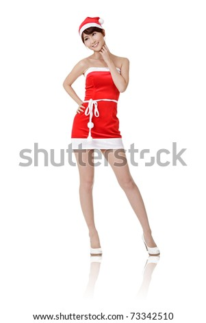 Happy smiling Christmas girl of Asian, full length portrait isolated on white background.