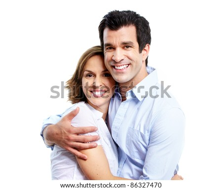 Happy smiling couple in love. Isolated over white background.