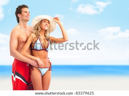 Happy smiling couple in love. Summer vacation.