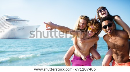 Happy smiling couples who travel by cruiseship. Concept of holiday and summertime