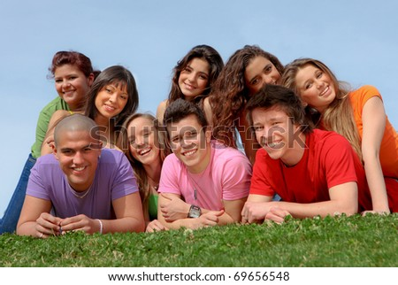 happy smiling diverse race group of teenagers