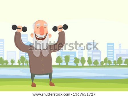 Happy smiling elderly man doing morning sports exercises with dumbbells in city park. Active lifestyle and sport activities in old age. Flat illustration.