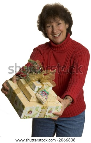 happy smiling excited middle age woman with gifts