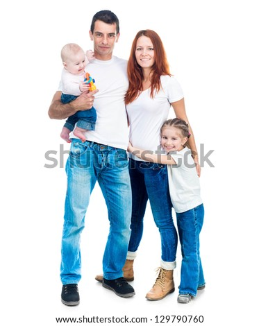 happy smiling family isolated on white background