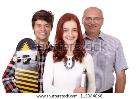 Happy smiling father with young pretty daughter and son with skateboard, isolated on white background