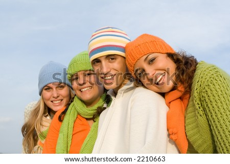 happy smiling friends - stock photo