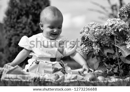 14447c36c57a Free photos Happy smiling funny small baby girl in stylish dress ...