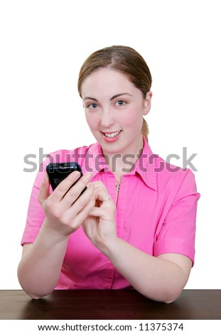 happy smiling girl using her pda personal assistant and stylus