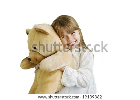 Happy smiling girl with huge teddy bear