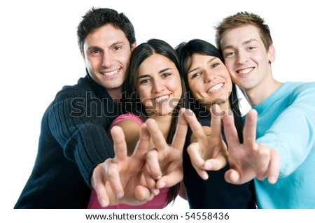 Happy smiling group of friends showing victory signs isolated on white background
