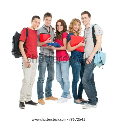 Happy smiling group of students standing isolated on white background