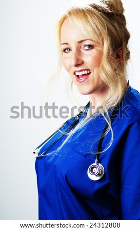 Happy smiling healthcare professional against a white background.