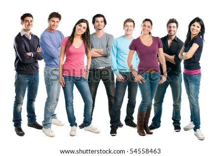 Happy smiling latin group of friends standing together in a row isolated on white background