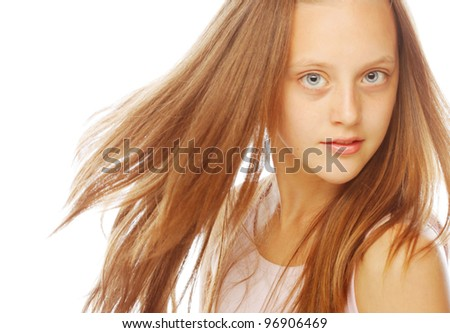 happy smiling little girl on white background in studio - stock photo