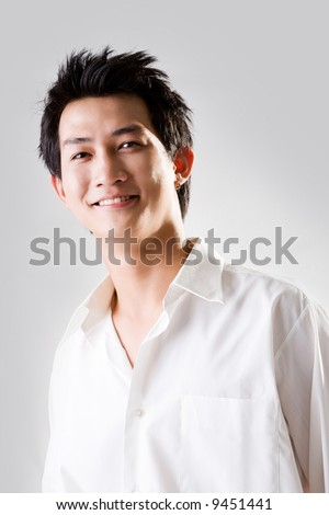 happy smiling man in white shirt