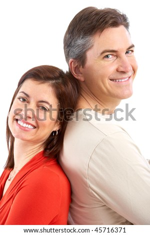 Happy smiling mature couple in love. Over white background