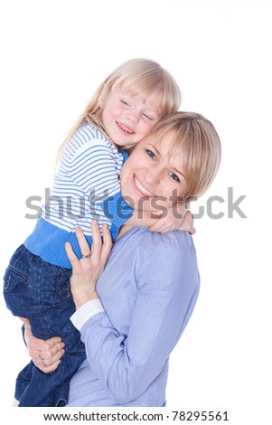 Happy smiling mom and child embracing, isolated