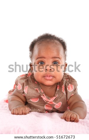 Happy Smiling 3-month Old African American Baby Girl Portrait on White Background