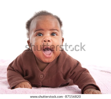 Happy Smiling 3-month Old Baby African American Girl Portrait on White Background