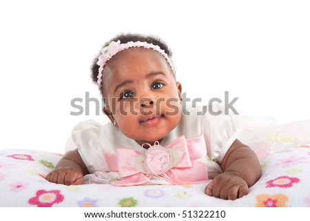 Happy Smiling 3-month Old Baby Girl Portrait on White Background