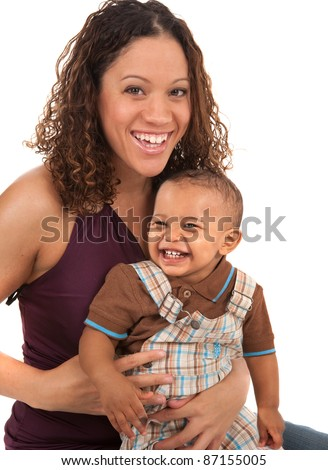 Happy Smiling Mother and Baby Boy on White Background