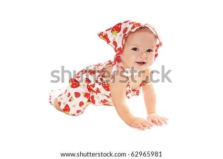 Happy smiling pretty baby girl isolated on white background