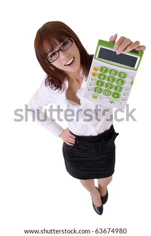 Happy smiling secretary holding calculator machine, full length portrait isolated on white.