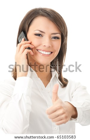 Happy smiling successful businesswoman with cell phone and thumbs up gesture, isolated on white background