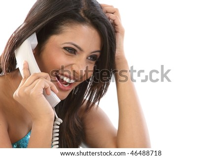 happy smiling teenage girl with the telephone
