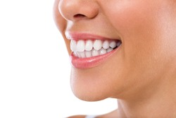 Happy smiling woman, dental health background