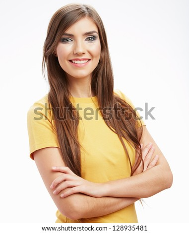 Happy smiling woman,  isolated white background .