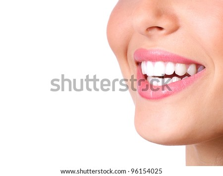 Happy smiling woman with a healthy teeth. Dentist. Isolated on white background. - stock photo