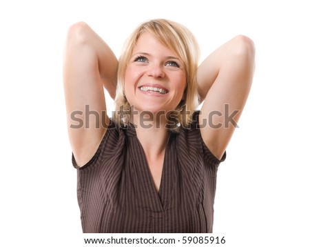 happy smiling woman with hands behind head isolated on white