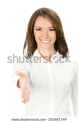 Happy smiling young beautiful business woman giving hand for handshake, isolated over white background