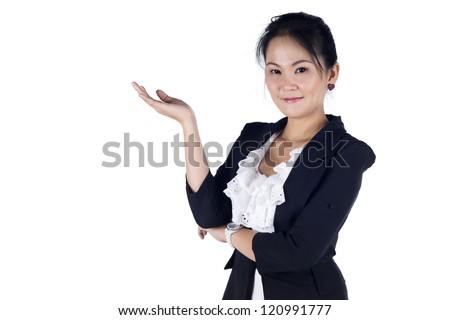 Happy smiling young business woman showing blank area for sign or copyspase, isolated on white background, Model is Asian woman