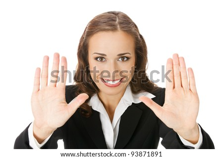 Happy smiling young business woman showing stop gesture, isolated over white background