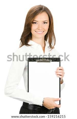 Happy smiling young cheerful businesswoman with clipboard, isolated over white background