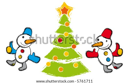 Happy snow-mans and christmas tree